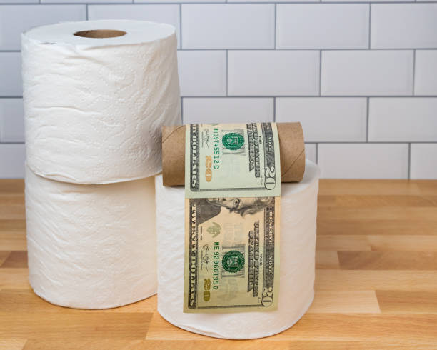 Empty toilet paper roll wrapped in 20 dollar bills. Concept of supply shortage, hoarding and price gouging due to coronavirus, covid-19 worldwide pandemic stock photo