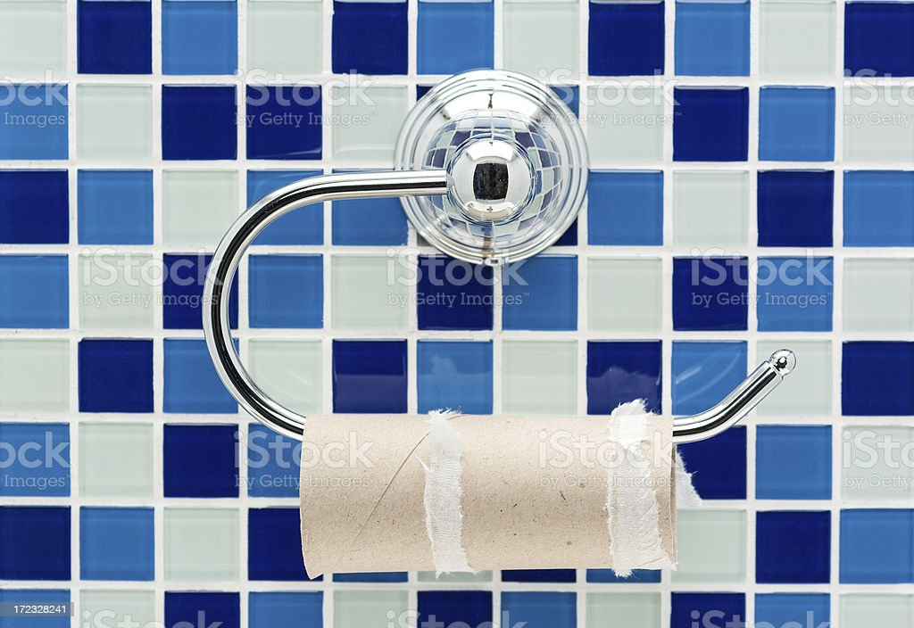 Empty toilet roll on a holder royalty-free stock photo