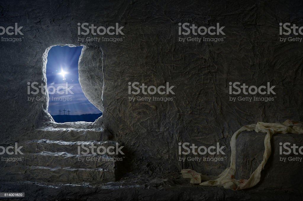 Empty Tomb of Jesus at Night stock photo