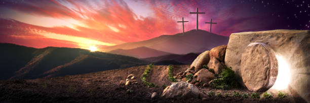 Empty Tomb Of Jesus Christ At Sunrise Empty Tomb Of Jesus Christ At Sunrise With Three Crosses In The Distance - Resurrection Concept tomb stock pictures, royalty-free photos & images