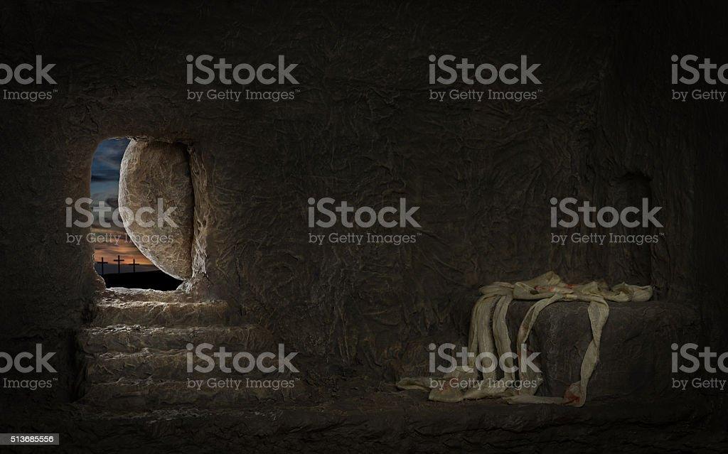 Empty Tomb of Jesus stock photo