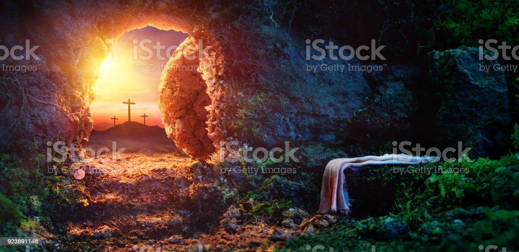 Empty tomb At Sunrise With Shroud