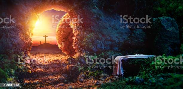 Empty tomb At Sunrise With Shroud