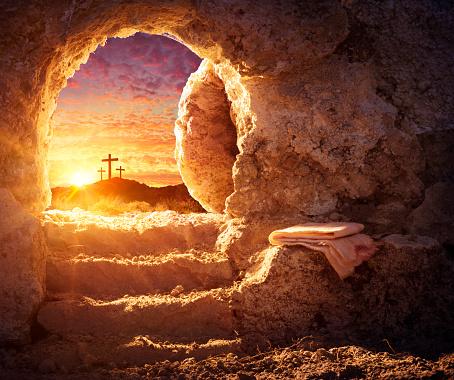 Empty Tomb With Shroud And Crucifixion At Sunrise - Risen Resurrection