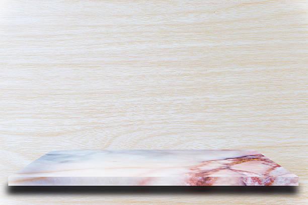empty top marble shelves and wooden wall background - terrassen deck design stock-fotos und bilder