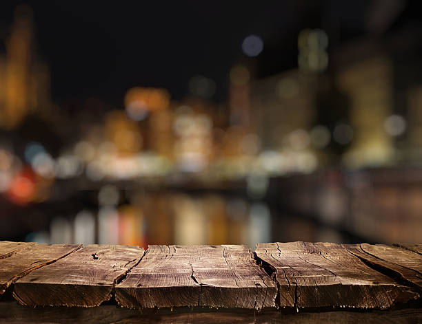 Empty top of wooden table stock photo