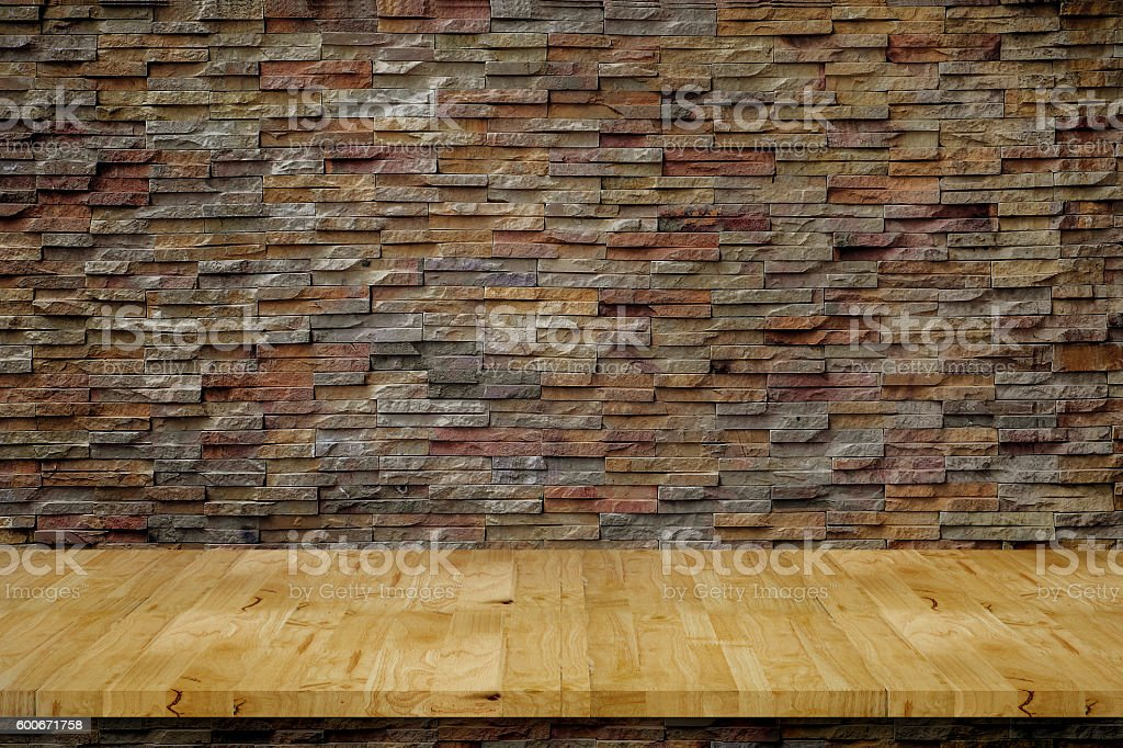 Fabulous Empty Top Wood Bench Plans With Stone Wall Stock Photo Pabps2019 Chair Design Images Pabps2019Com