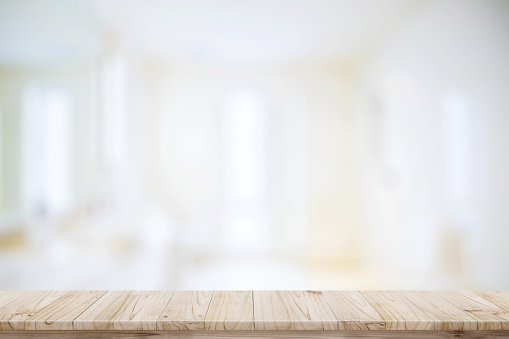 istock Empty top wood table and blurred bath room background. 800987054
