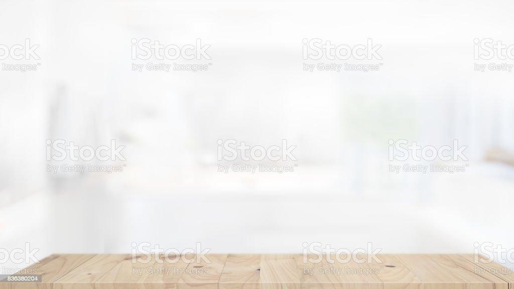 產品空頂木表顯示模糊的浴室內背景與蒙太奇