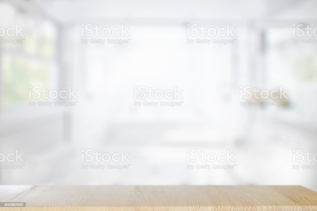 Empty  top wood table  with blurred bath room interior Background. For product display montage. stock photo