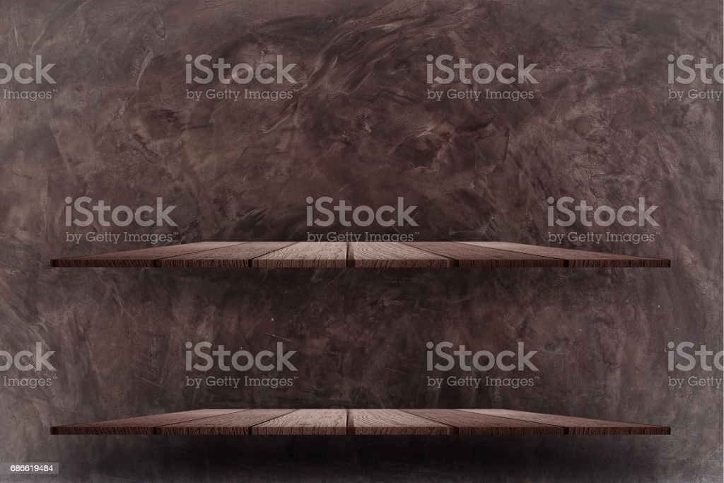 Empty top wooden shelves royalty-free stock photo