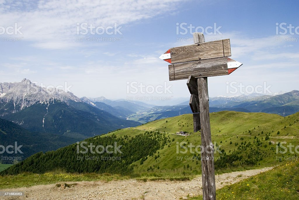 Empty trail sign in the Alps stock photo