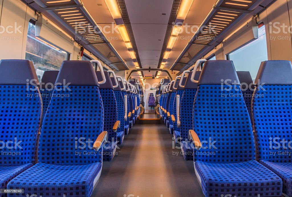 Empty train chairs stock photo