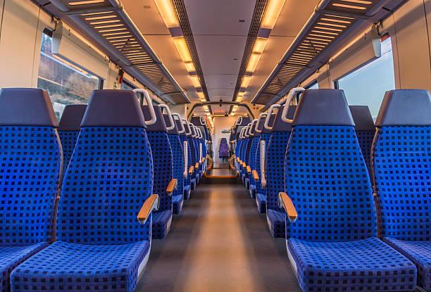 empty train chairs - järnvägsvagn tåg bildbanksfoton och bilder