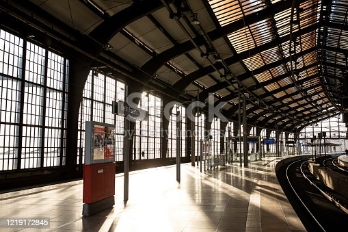 View of one of Berlin's most famous S-Bahn station Friedrichstrasse completely empty due to new German regulations aiming to limit the spread of the new COVID-19 coronavirus.