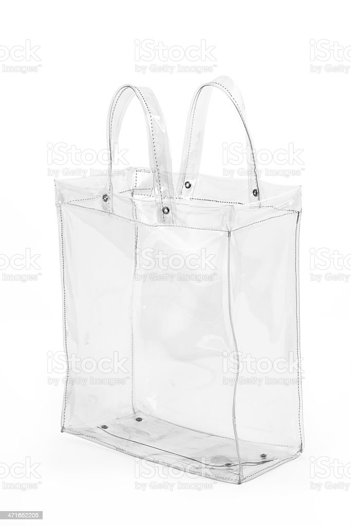 Empty Transparent Shopping Bag stock photo