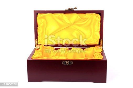 empty treasure box ioslated on white background
