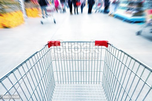 511190632 istock photo Empty trolley in supermarket 598218438