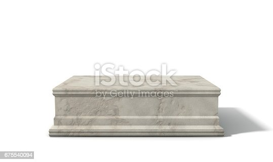 An empty rectangular light marble stone trophy base on an isolated white studio background - 3D render
