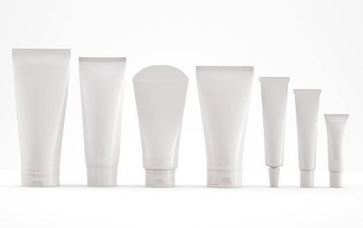 Cosmetic tube templae on white background