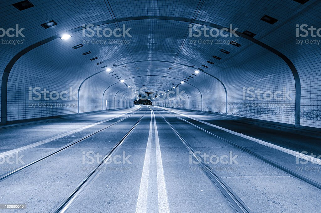 Empty tunnel at night royalty-free stock photo