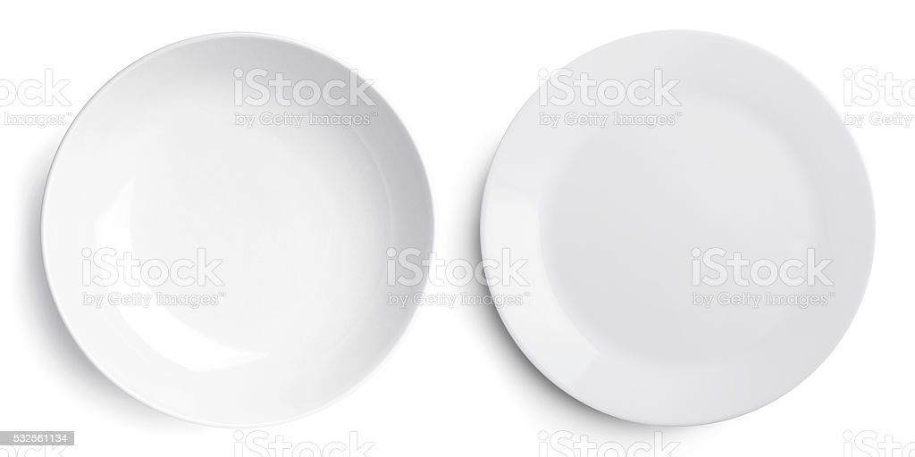 Empty two plate (dish and bowl) stock photo