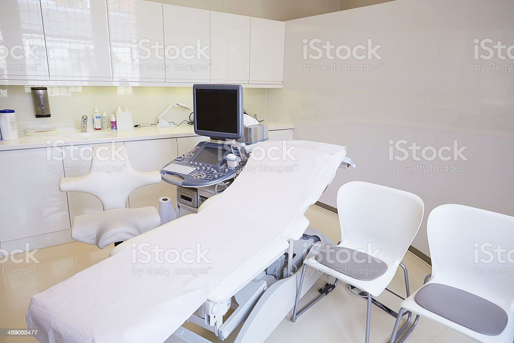 Empty Ultrasound Suite In Modern Hospital stock photo