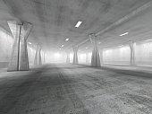 Empty underground parking area 3D rendering image