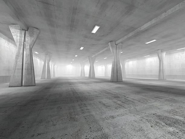leere tiefgarage 3d-abbildung - grauflecken stock-fotos und bilder