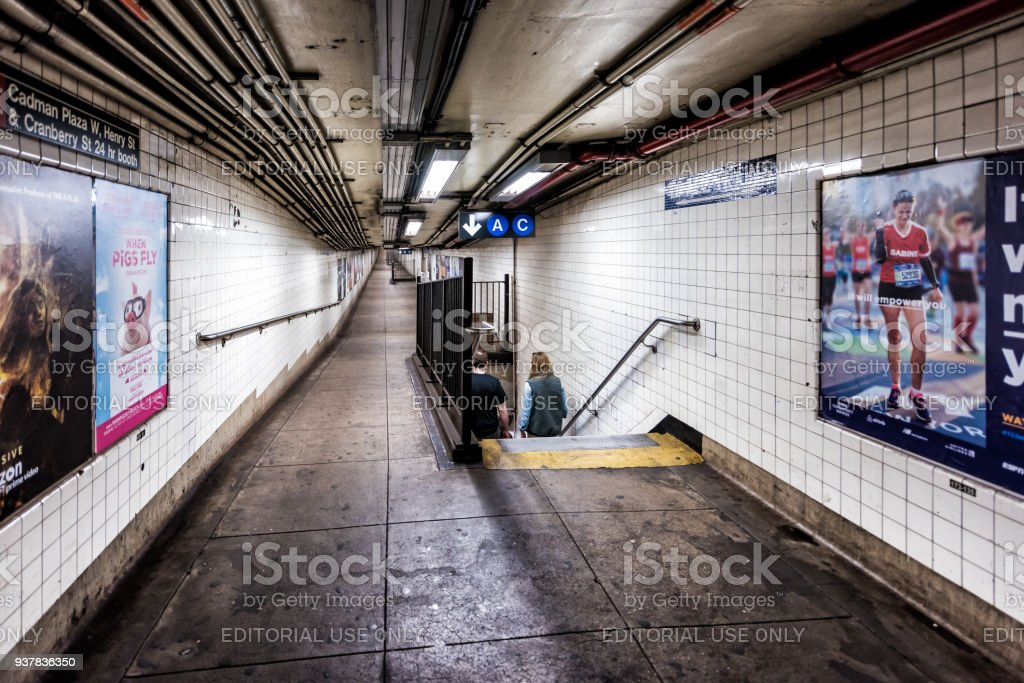 Empty Underground Transit Stairs, Exit Transfer Sign In NYC New York City  Subway Station,