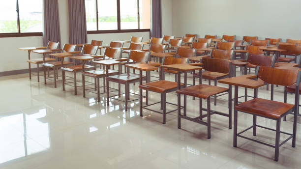 Empty university classroom stock photo