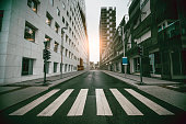 istock Empty Urban Street with Skyscraper at Sunrise 937620870
