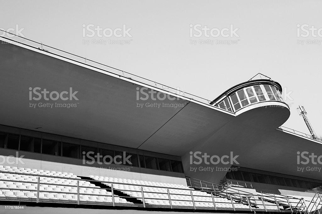 Empty Velodrome Bleachers. Black and White stock photo