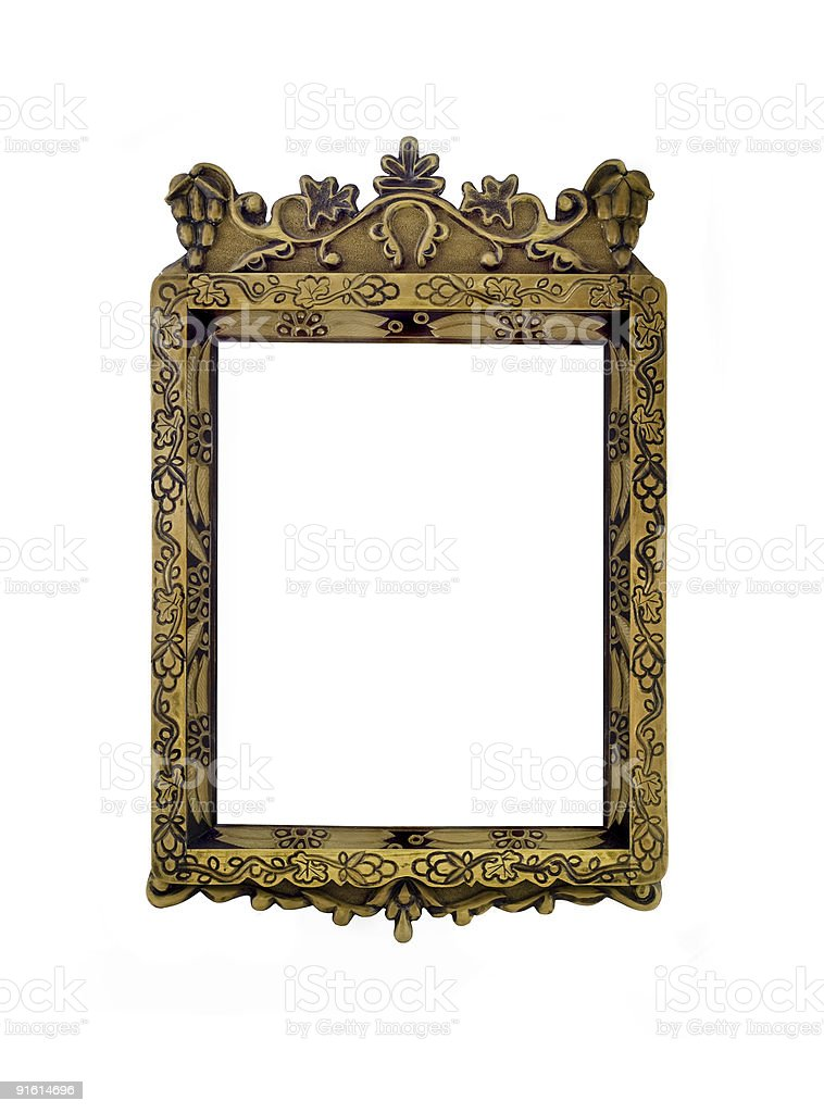 Empty vertical carved frame for picture or portrait isolated royalty-free stock photo