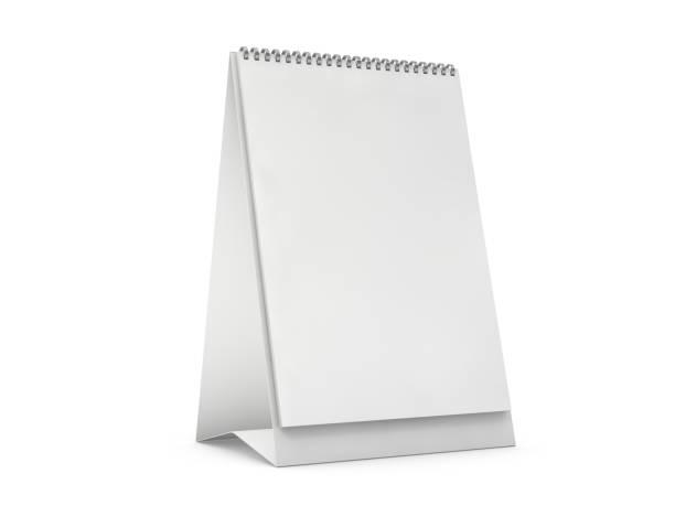 leerer vertikaler schreibtischkalender auf dem tisch. mockup-designkonzept. 3d - menüplanung vorlagen stock-fotos und bilder