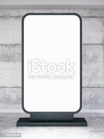 istock Empty Vertical Sign with Concrete Wall 1153449154