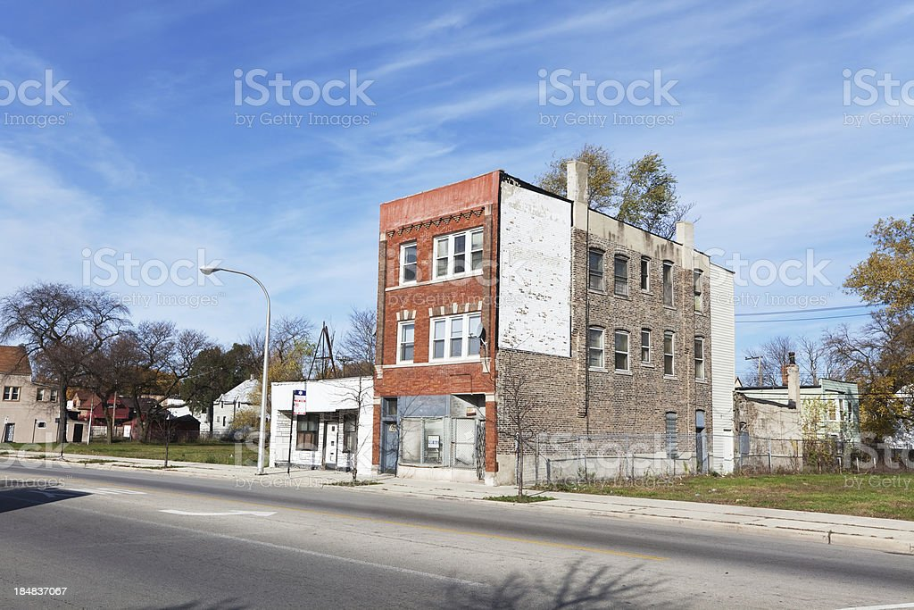 Empty Victorian shop building in West Englewood, Chicago royalty-free stock photo