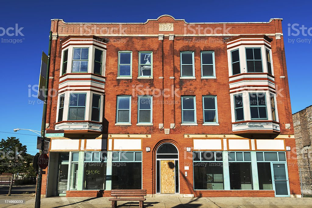 Empty Victorian Shop Building, South Chicago royalty-free stock photo