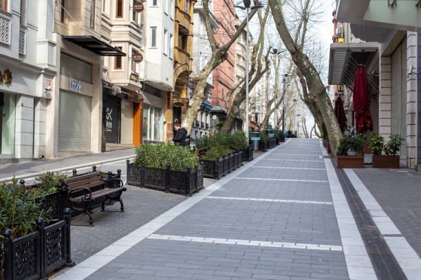 Empty view from Nuruosmaniye pedestrian boulevard. stock photo