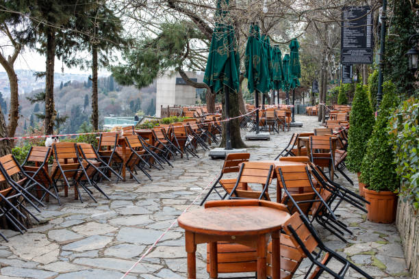 Empty view of famous Pierre Loti Hill in Eyup,Istanbul. stock photo