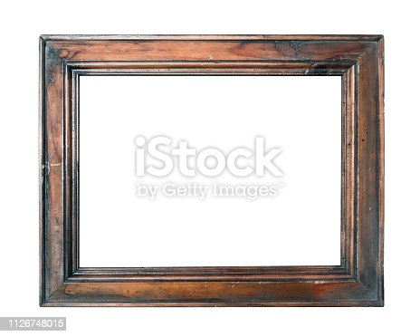 empty vintage brown photo picture frame isolated on white background closeup.