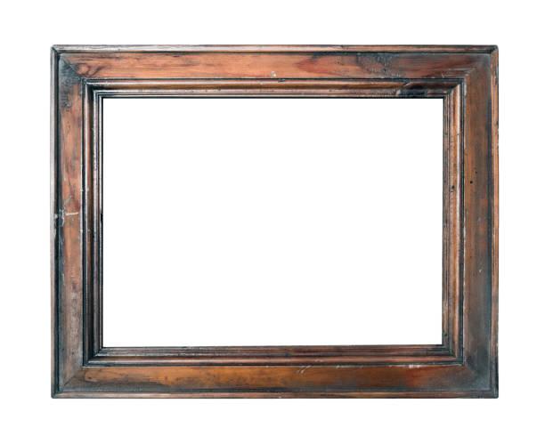 vuoto vintage marrone foto cornice isolata su sfondo bianco primo piano - intelaiatura foto e immagini stock