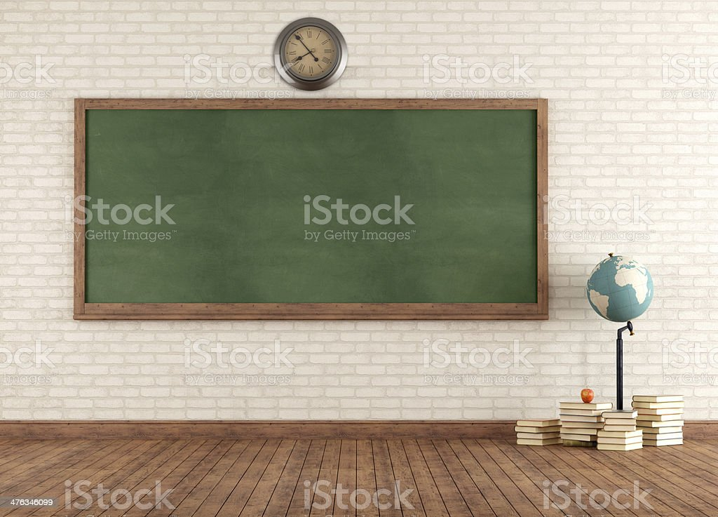 Empty vintage classroom stock photo