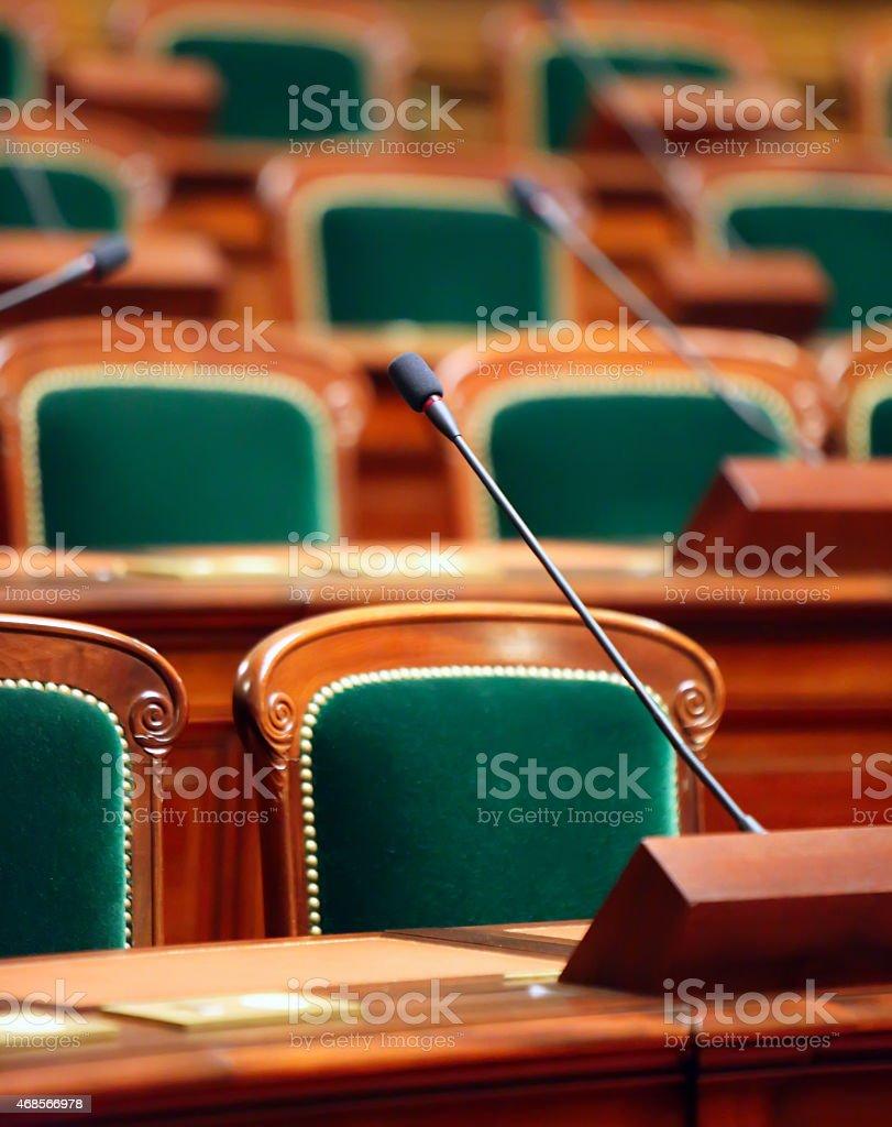 Empty vintage congress hall stock photo