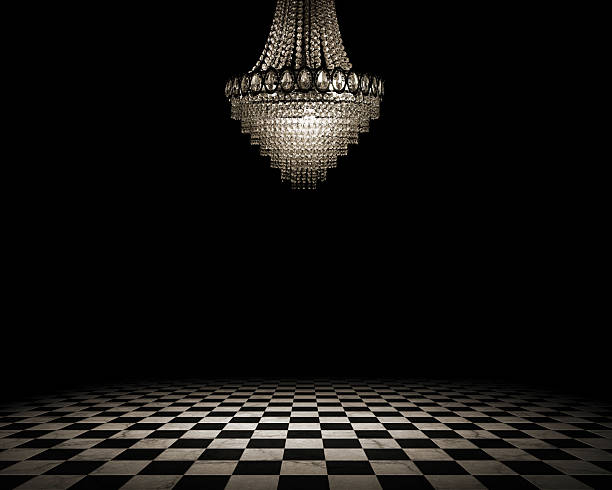 Empty vintage interior Grunge empty interior with checkered marble floor chandelier stock pictures, royalty-free photos & images