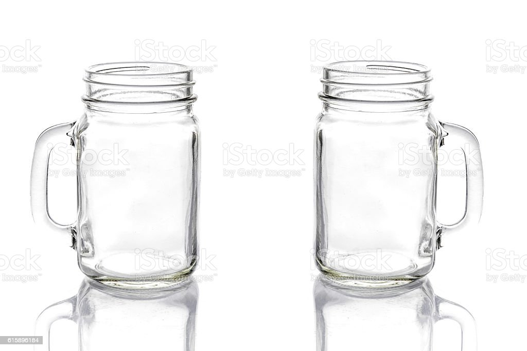 Empty vintage mason Jar on White background - Photo