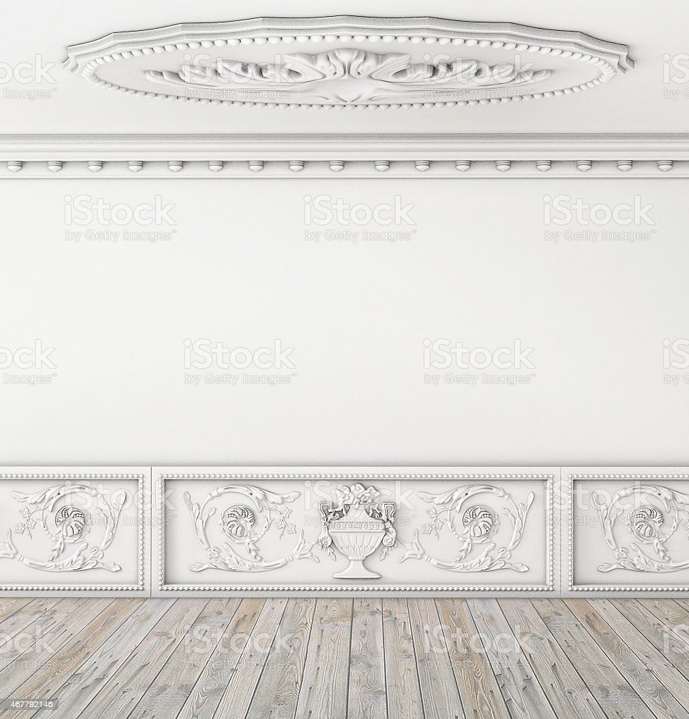 empty vintage room interior with ceiling stock photo