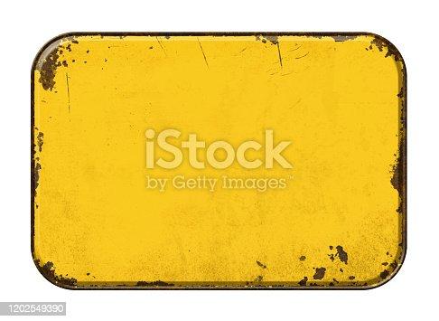 Empty vintage tin sign on a white background
