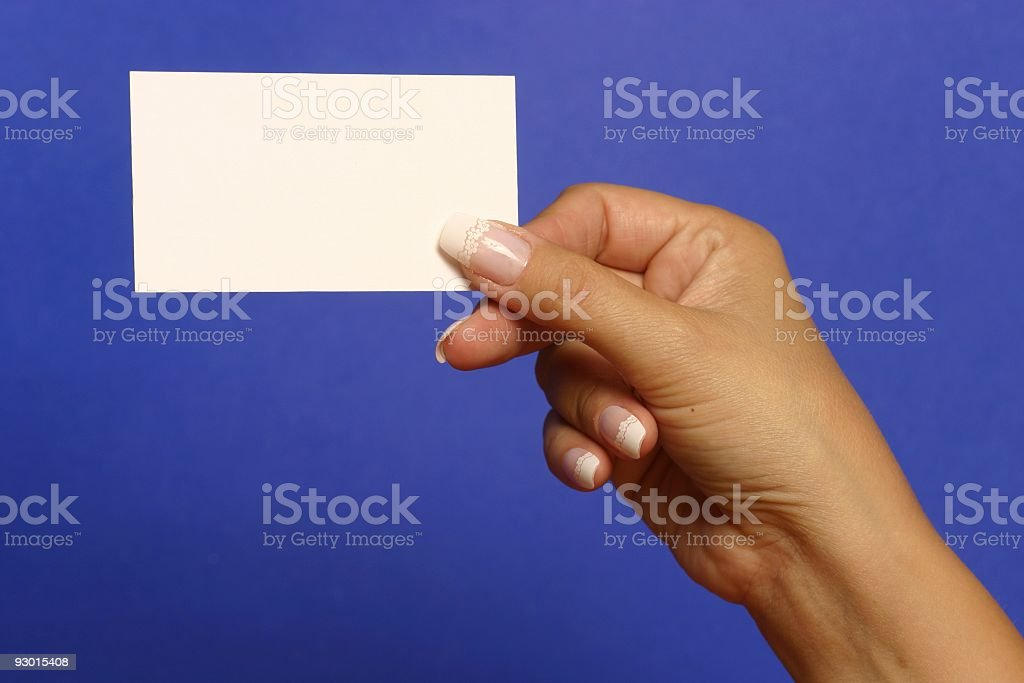 Empty visiting-card in palm 1 royalty-free stock photo