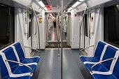 Barcelona, Spain. 26th Apr, 2020. Empty wagon of the metro in Barcelona during the coronavirus lockdown